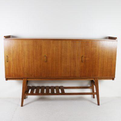 Buffet haut vintage en chêne 1950, de René Jean Caillette pour Charron.