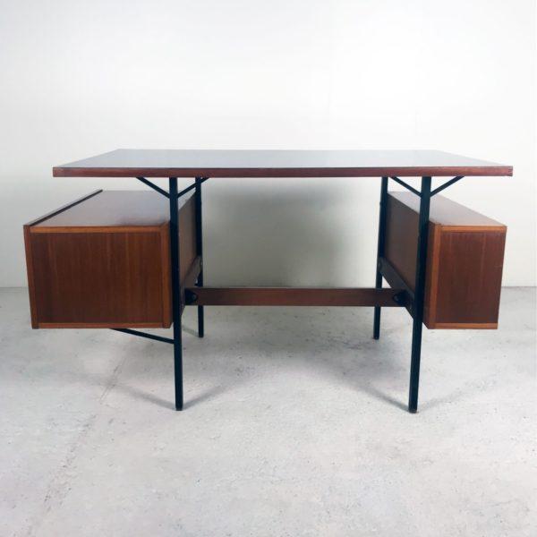 Bureau vintage 1950, en acajou, Formica noir et métal.