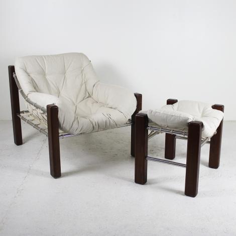 Fauteuil et ottoman de Jean Gillon pour Italma Wood Art, 1960