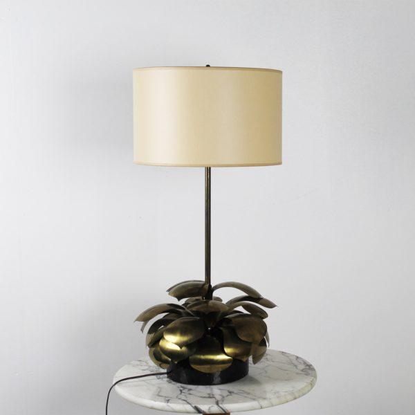Lampe vintage 1960, en laiton et abat-jour en tissu.