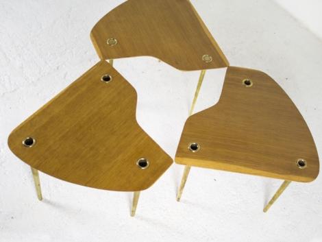 Lot de 3 tables basses de Pierre Cruège, 1950