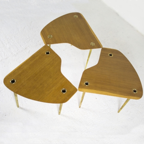Lot de 3 tables basses de Pierre Cruège, 1950