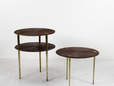 Lot de 3 tables basses en acajou de Pierre Cruège, 1950