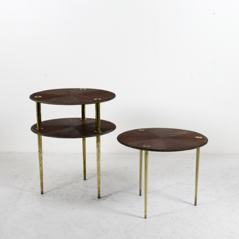 Lot de 3 tables basses en acajou de Pierre Cruège, 1950