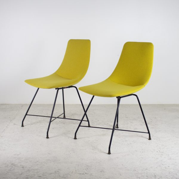 Paire de chaises jaunes d'Augusto Bozzi pour Fratelli Saporiti, 1956