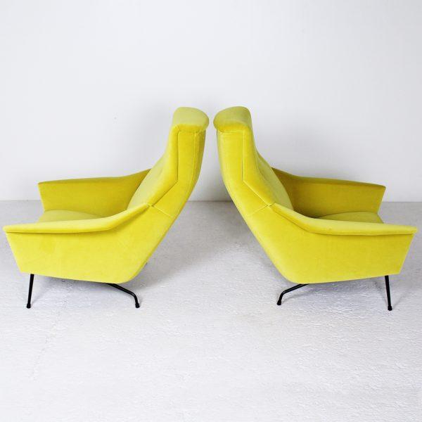 Fauteuils vintage de Guy Besnard, années 50, velours jaune de la Maison Lelievre