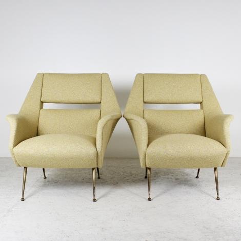 Paire de fauteuils en tissu Lelièvre
