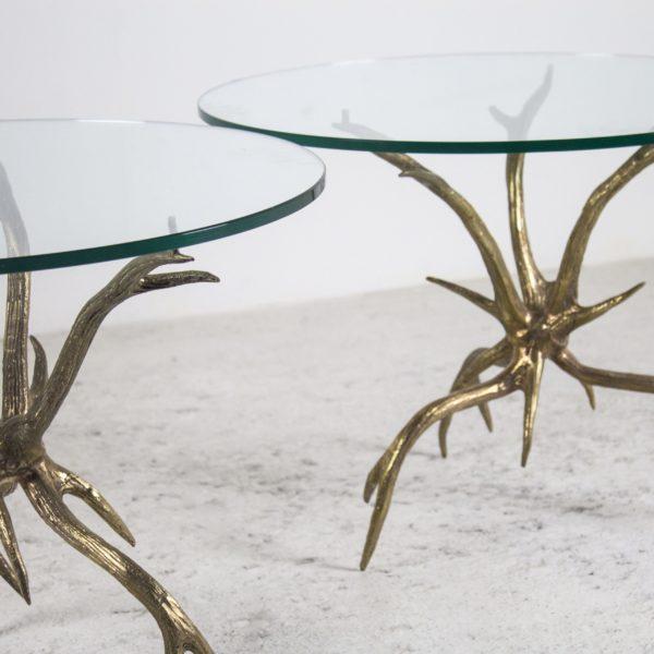 Paire de guéridons vintage 1970 en bronze doré et verre, Arthur Court.