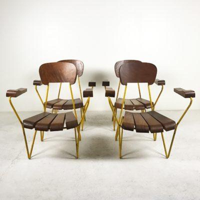 Série de 4 fauteuils vintage années 50, en métal jaune et bois massif, design argentin de Cesar Janello.