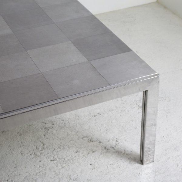 """Grande table basse rectangulaire """"Luar"""", vintage 1970, en acier chromé et acier mat, de Ross Littell pour ICF."""