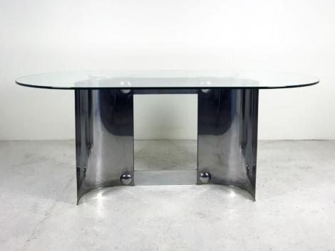 Table en métal chromé et verre, 1970 2