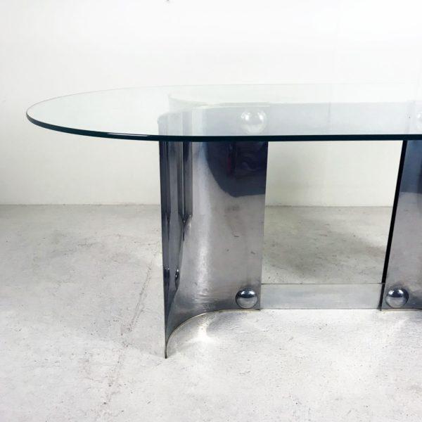 Table à manger vintage des années 70, en métal chromé et verre.