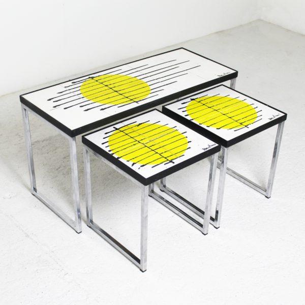 Tables gigognes vintage 1960, en céramique et métal chromé de Belarti.