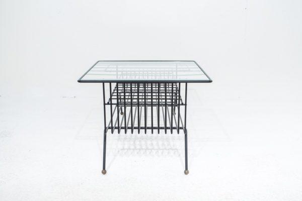 Table basse rectangulaire vintage, années 50, en métal laqué noir, plateaux en verre.
