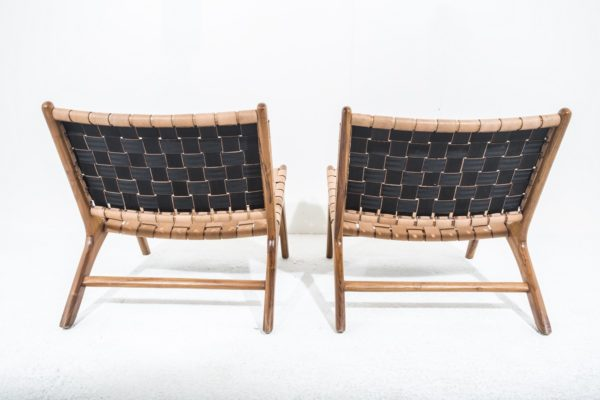 Fauteuils style scandinave, en teck et cuir.