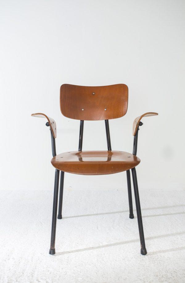 Fauteuil de bureau vintage 1950, édité par Mobilor, en contreplaqué moulé et métal.
