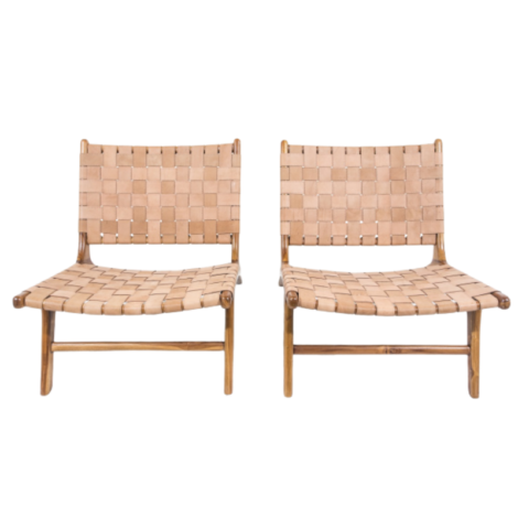 Paire de fauteuils en cuir et teck