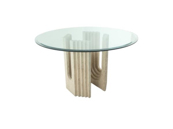 Table à manger vintage des années 70, piètement en travertin, plateau en verre.