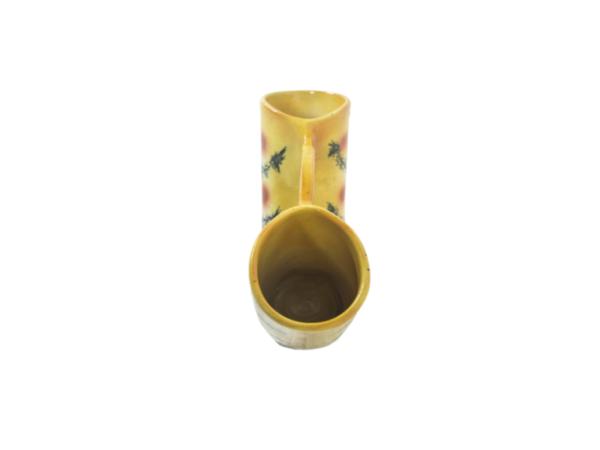 vase double en céramique vintage des années 50, signé Accolay.