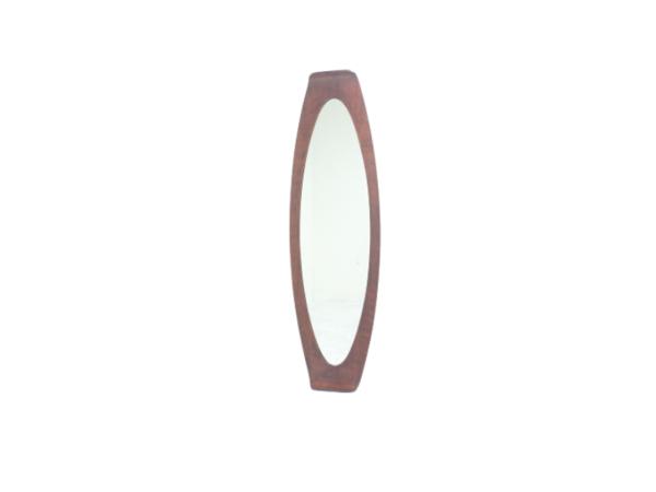 Miroir vintage ovale des années 50, de Campo e Graffi, cadre en teck .