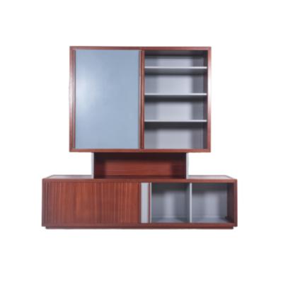 Meuble design vintage des années 60, d'André Sornay, deux éléments à portes coulissantes en acajou et isorel laqué gris.