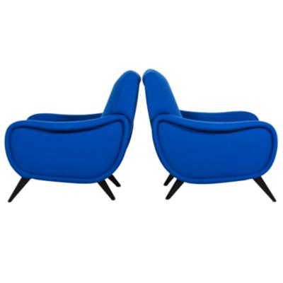 Paire de fauteuils bleus 1950 design et vintage