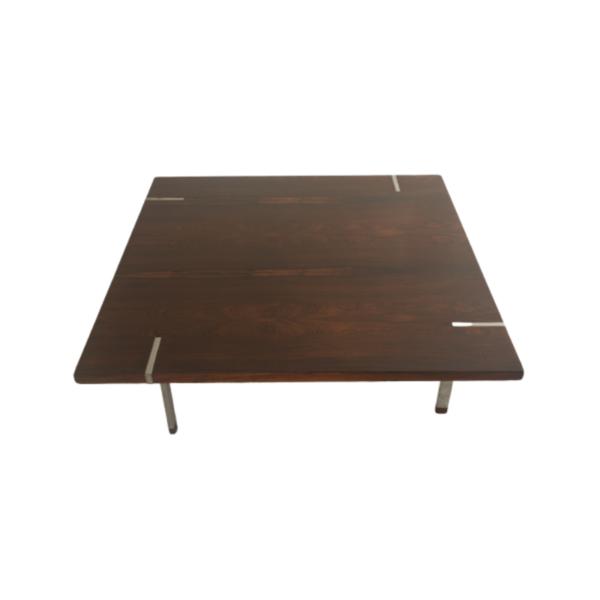 Table basse design vintage, en palissandre du fabricant italien Pizzetti années 70.