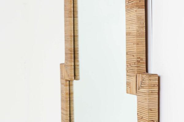 Miroir vintage en bambou et verre, fabrication italienne des années 60.