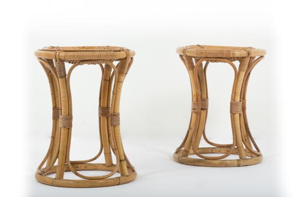 tabourets vintage en bambou, édition Vittorio Bonacina dans les années 60.