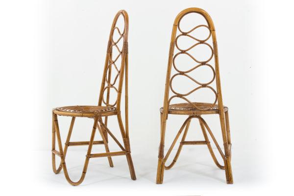 chaises vintage en bambou, édition Vittorio Bonacina dans les années 60.