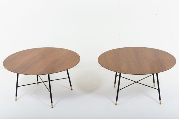 tables vintage des années 50, d'Ico Parisi pour Cassina en noyer, métal laqué noir et laiton