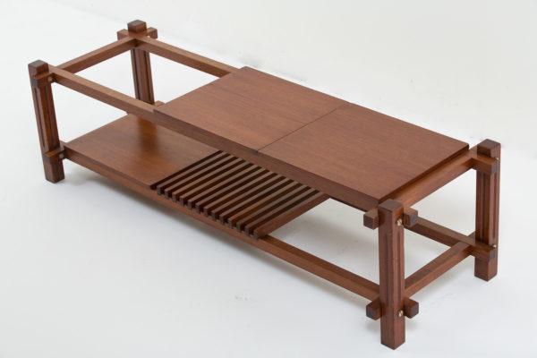 Table basse vintage rectangulaire en teck, plateaux amovibles, travail italien des années 60.