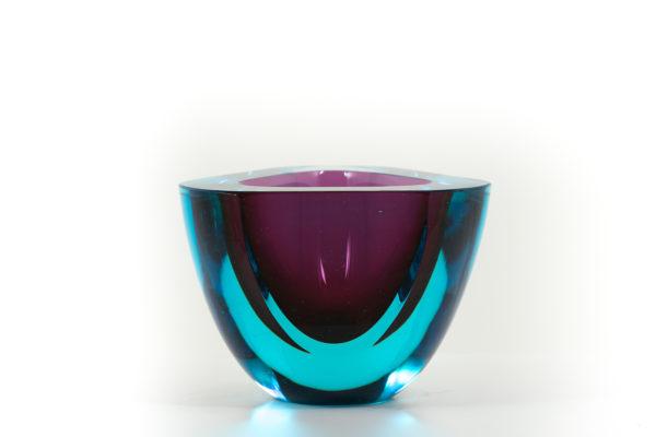 coupe vintage, en verre et cristal de Murano, travail des années 50.