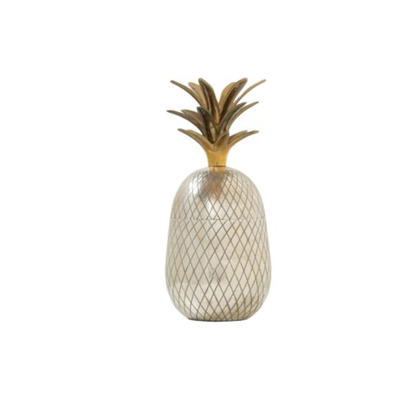 seau à glace vintage, en forme d'ananas, années 70 en métal argenté et laiton