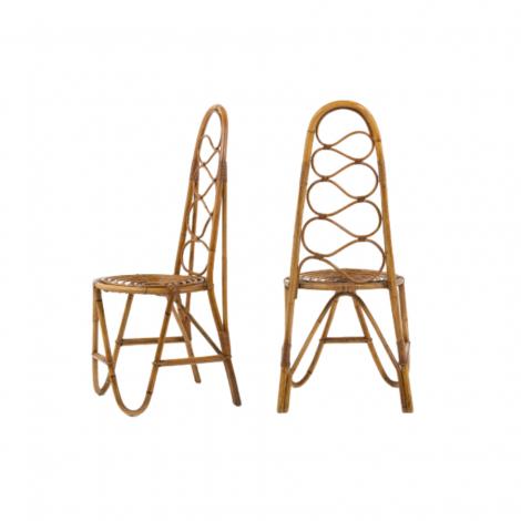 Paire de chaises en bambou