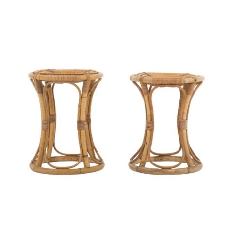 Paire de tabourets en bambou