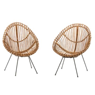 paire de fauteuils en rotin attribués à Franco Albini circa 1960