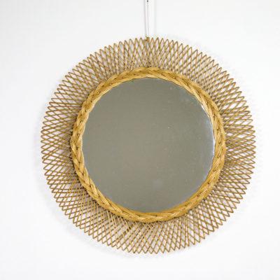 Miroir soleil vintage en rotin des années 50.