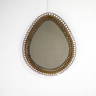 Miroir vintage en rotin des années 50, de Franco Albini.