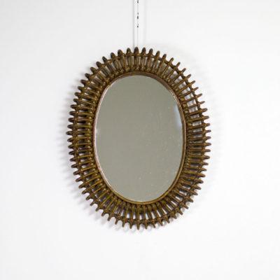 Miroir vintage ovale en rotin des années 50, de Franco Albini.