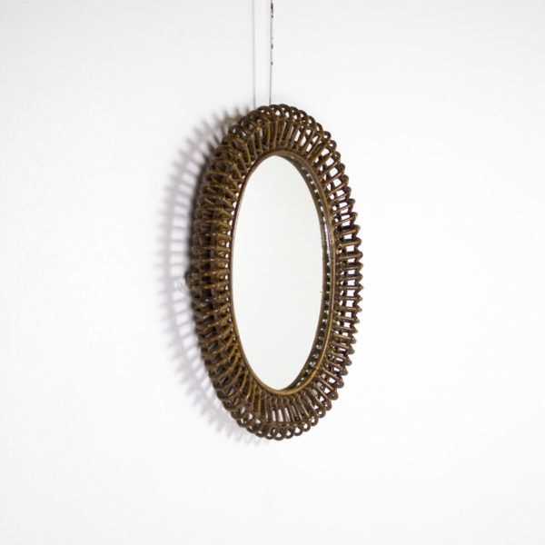 Miroir vintage, ovale en rotin des années 50, de Franco Albini.