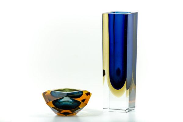 Cendrier et vase vintage en verre de Murano des années 50 attribués à Flavio Poli