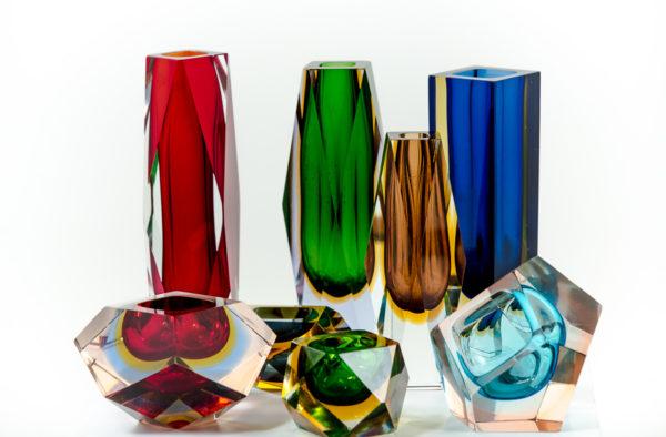 Cendriers et vases vintage en verre de Murano des années 50 attribués à Flavio Poli