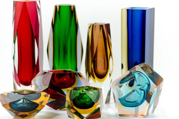 Cendriers et vases Sommerso, en verre de Murano des années 50 attribués à Flavio Poli