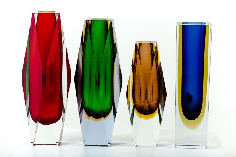 Vases en verre de Murano des années 50 attribués à Flavio Poli