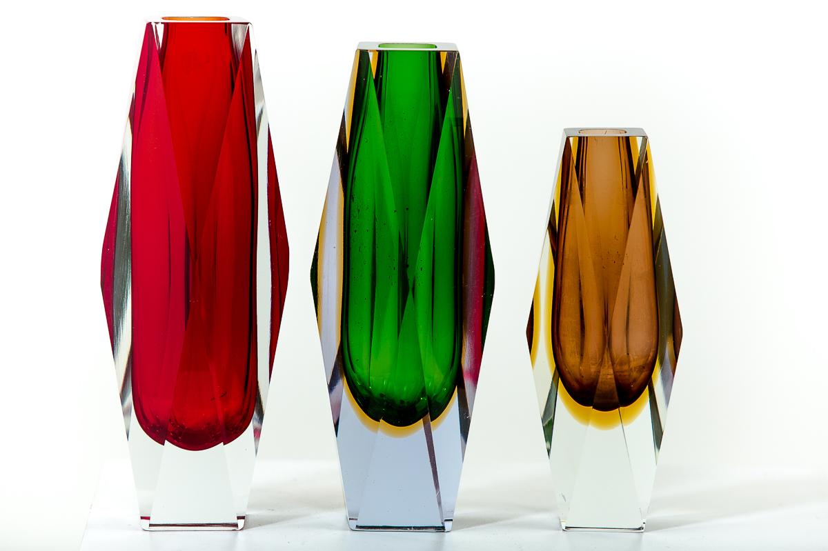 Vases vintage Sommerso, en verre de Murano des années 50 attribués à Flavio Poli