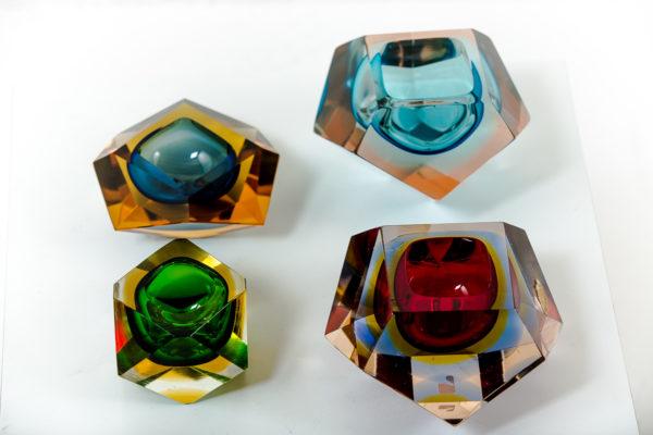 Cendriers vintage sommerso, en verre de Murano des années 50 attribués à Flavio Poli