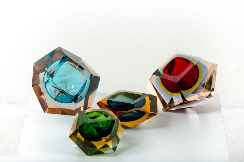 Cendriers en verre de Murano des années 50 attribués à Flavio Poli