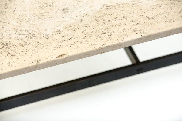 Table basse vintage rectangulaire, en métal et travertin, années 70