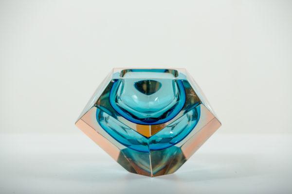 Cendrier Sommerso, vintage, en verre de Murano des années 50 attribués à Flavio Poli